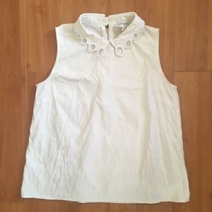 Carven White Sleeveless Zip Up Top FR 36/US S
